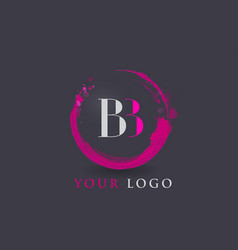 Bb letter logo circular purple splash brush vector