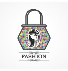 Beauty and fashion icon with handbag vector image vector image
