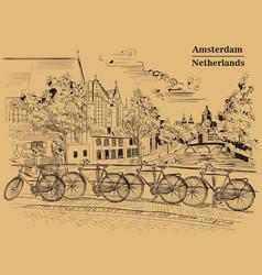Bicycles on bridge in amsterdam brown vector