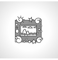 Black line icon for picture frame vector image