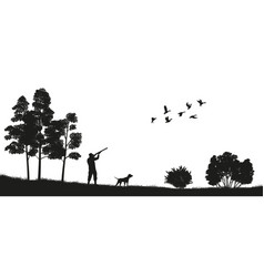 Black silhouette a hunter with a dog in forest vector
