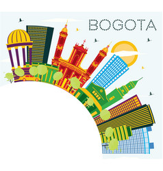 Bogota colombia city skyline with color buildings vector
