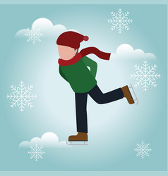 Boy skating cross country skating winter sport vector