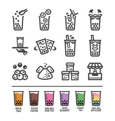 Bubble tea icon set vector