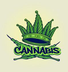 cannabis crown logo hip hop style vector image