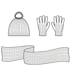 Cap scarf gloves vector image