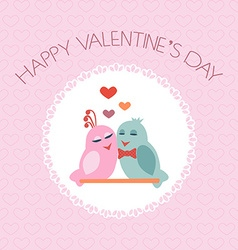 Card for Valentines Day Birds Heart Label vector image