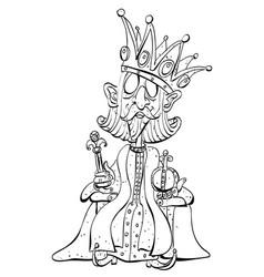 Cartoon image of king with huge crown vector