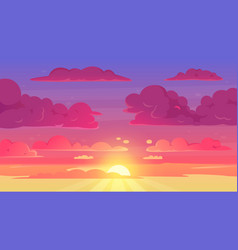 cartoon sunset sky gradient violet and yellow sky vector image