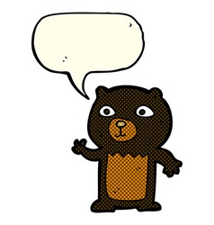 Cartoon waving black bear cub with speech bubble vector