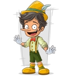 Cartoon young Pinocchio with big boots and hat vector image