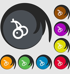 Cherry icon sign Symbols on eight colored buttons vector image