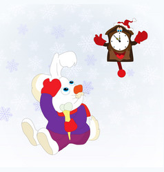 Christmas card with rabbit and clock blue vector