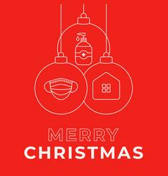 christmas coronavirus ball red banner vector image