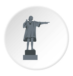 Christopher columbus statue icon circle vector