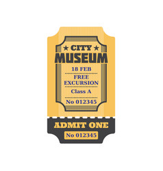City museum ticket with free excursion admit one vector
