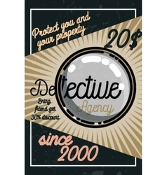 Color vintage detective agency poster vector image