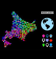 Colored dot hokkaido island map vector