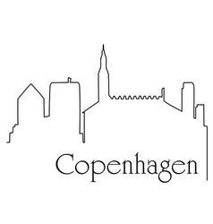 Copenhagen city one line drawing background vector