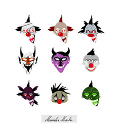 demon monsters and clowns evils halloween masks se vector image