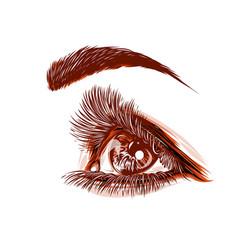 drawing of a red eye of a woman vector image