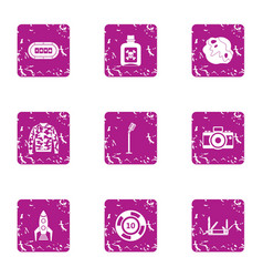 Experienced approach icons set grunge style vector