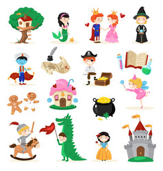 Fairytale characters cartoon set vector