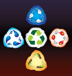 Four elements as recycle signs vector image