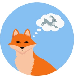 Fox thinking about hare vector