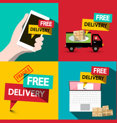 free delivery flat design set vector image