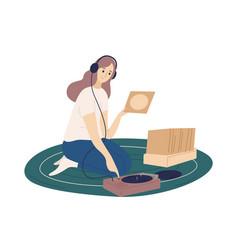 Funny girl wearing headphones putting vinyl vector