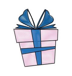 Gift box christmas present bow ribbon decoratio vector