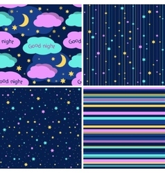 Good Night seamless pattern set Seamless vector image