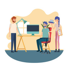 Group people in work office vector