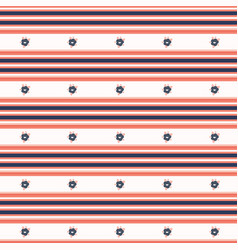 Hand drawn coral blue flower stripes seamless vector