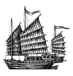 hand drawn design chinese junk boat vector image