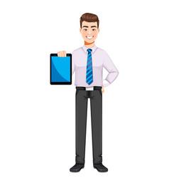 Handsome business man holding tablet vector