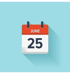 June 25 flat daily calendar icon Date vector image