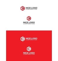k hexagon logo vector image vector image