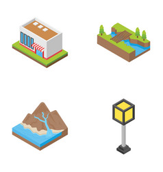 Landscapes and urban elements icons vector