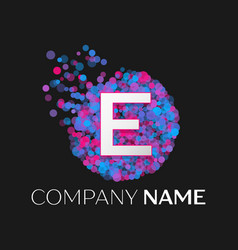 letter e logo with blue purple pink particles vector image
