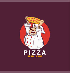 logo funny cook or chef with pizza vector image