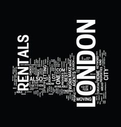 London rentals text background word cloud concept vector