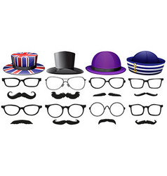 Male fashion set with glasses and hats vector