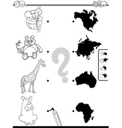 Match animals and continents game color book vector
