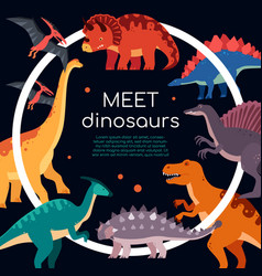 Meet dinosaurs - colorful flat design style banner vector