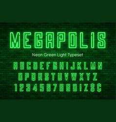 megapolis neon light alphabet realistic extra vector image