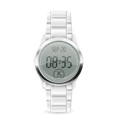 Men digital watch with metal bracelet vector