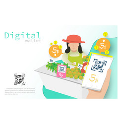 mobile wallet payment with qr code concept vector image