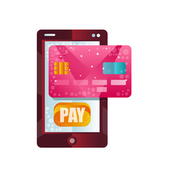modern smartphone and credit card phone wallet vector image